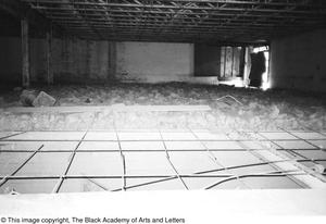 Primary view of object titled '[Unfinished Attic Crawl Space in Lamar St. Facility]'.