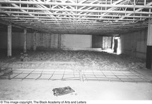 Primary view of object titled '[Unfinished Attic Crawl Space in Lamar St. Building]'.