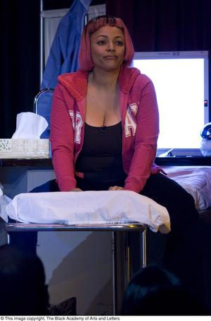 Primary view of object titled '[Kim Fields On-Stage in Pink Wig]'.