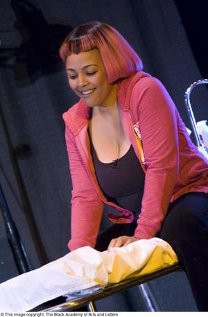 Primary view of object titled '[Kim Fields On-Stage During a Scene]'.