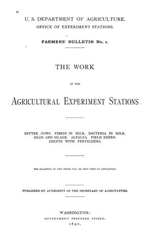 Primary view of The Work of the Agricultural Experiment Stations