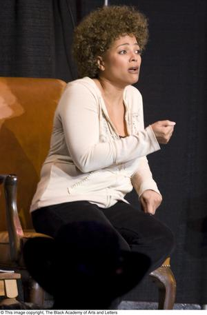 Primary view of object titled '[Kim Fields on Stage During Play]'.