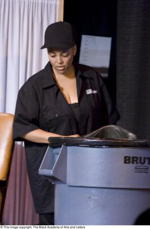 Primary view of object titled '[Kim Fields On-Stage as Maintenance]'.