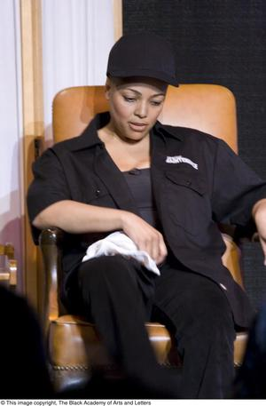 Primary view of object titled '[Kim Fields Dressed in All Black on Stage]'.