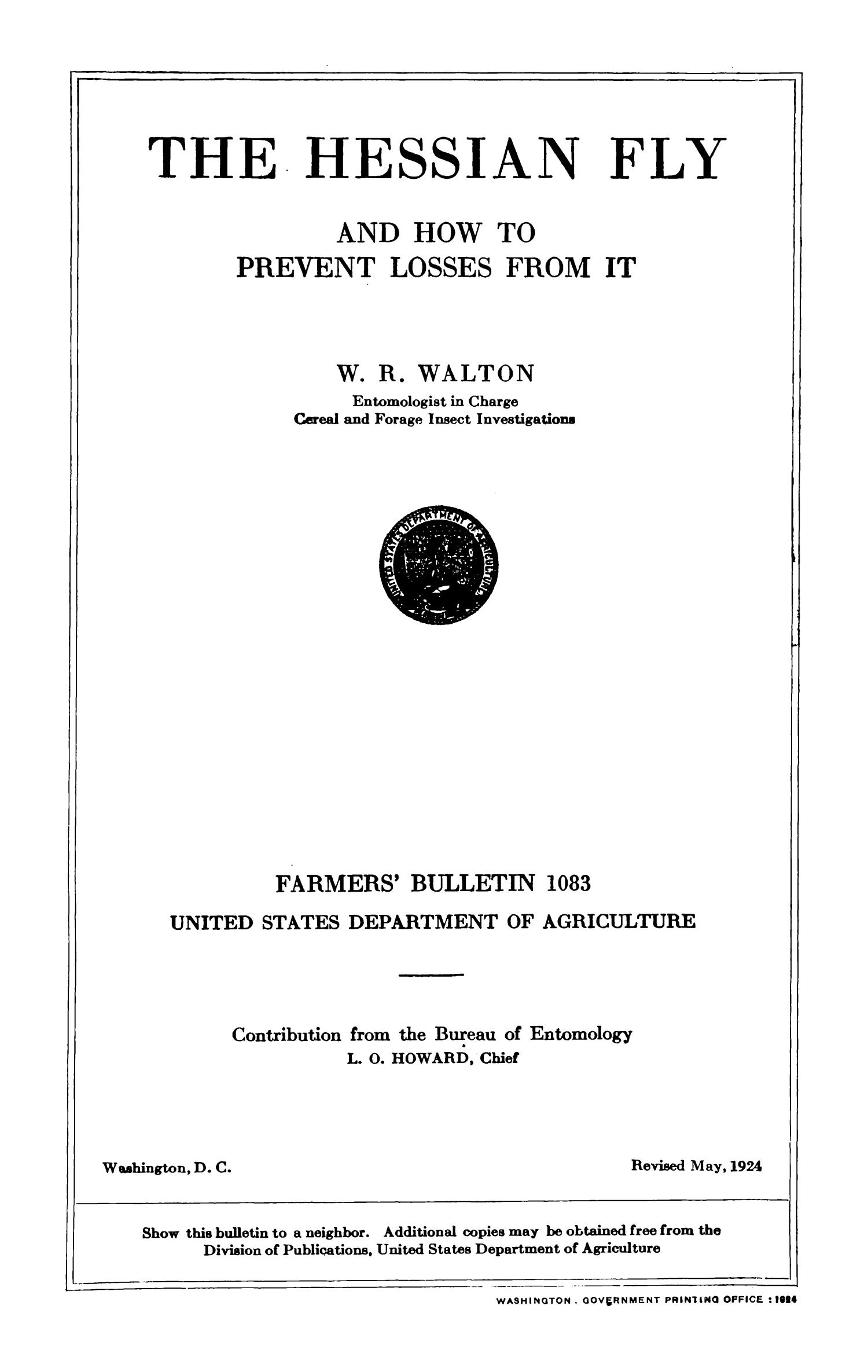 The Hessian Fly and How to Prevent Losses from It                                                                                                      Title Page