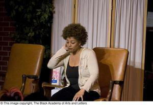 Primary view of object titled '[Kim Fields Seated On-Stage]'.
