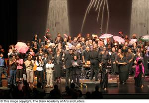 Primary view of object titled '[Curtis King on Stage with Chorus and Performers]'.