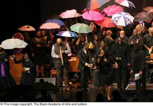 Primary view of object titled '[Curtis King on Stage with Large Ensemble]'.