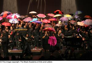 Primary view of object titled '[Large Ensemble on Stage Including Curtis King]'.
