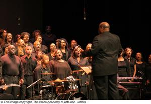Primary view of object titled '[Conductor and Choir on Stage]'.