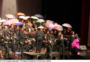 Primary view of object titled '[Large Ensemble on Stage Including Curtis King and Dereque Whiturs]'.