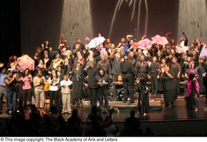 Primary view of object titled '[Curtis King on Stage with Chorus and Several Performers]'.
