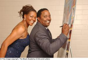 Primary view of object titled '[Cavin Yarbrough and Alisa Peoples Signing Gala Poster]'.