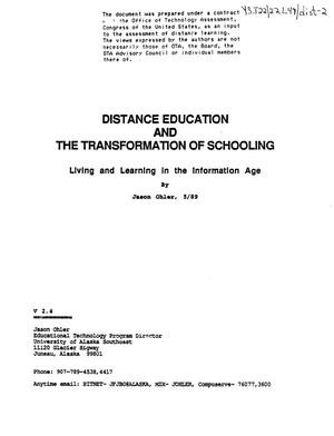 Primary view of object titled 'Distance education and the transformation of schooling'.