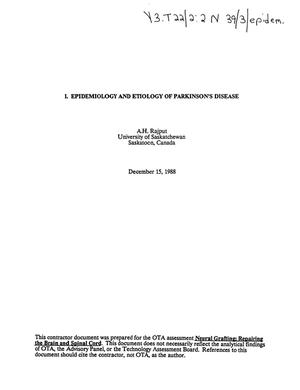 Primary view of object titled 'Epidemiology and etiology of Parkinson's disease'.