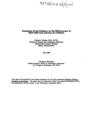 Primary view of object titled 'Evaluation of the evidence on the effectiveness of well child care services for children'.