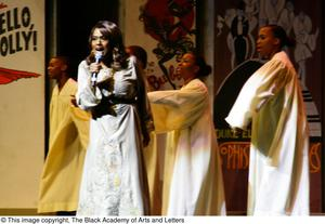Primary view of object titled '[Jennifer Holliday Singing with a Choir]'.