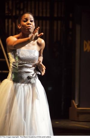 Primary view of object titled '[Performer on Stage Wearing Silver Dress]'.