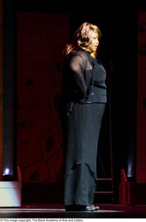 Primary view of object titled '[Felicia P. Fields On Stage Performing]'.