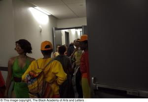 Primary view of object titled '[Several Performers Backstage in Costume]'.