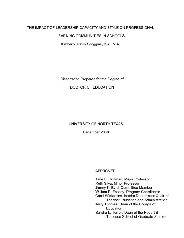 dissertation leadership education