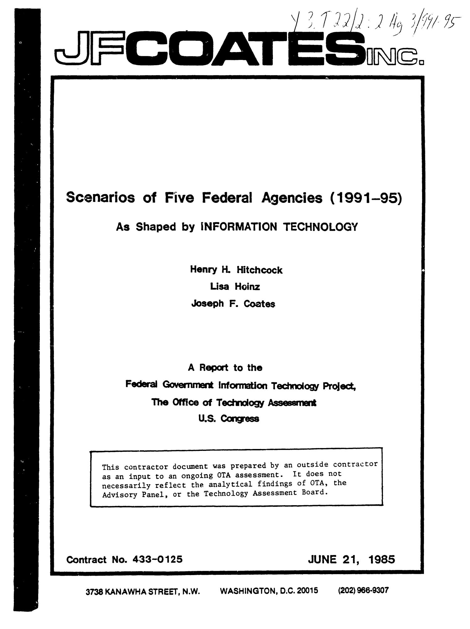 Scenarios of five federal agencies (1991-95) as shaped by information technology: a report to the Federal Government Information Technology Project                                                                                                      Title Page