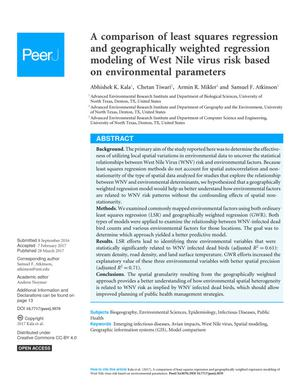 A comparison of least squares regression and geographically weighted regression modeling of West Nile virus risk based on environmental parameters
