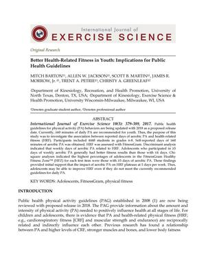 Better Health-Related Fitness in Youth: Implications for Public Health Guidelines