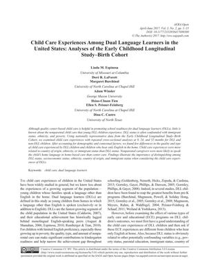Child Care Experiences Among Dual Language Learners in the United States: Analyses of the Early Childhood Longitudinal Study--Birth Cohort