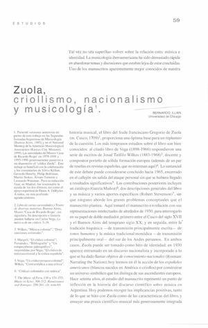 Zuola, criollismo, nacionalismo y musicología