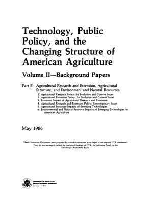 Primary view of object titled 'Technology, Public Policy, and the Changing Structure of American Agriculture, Volume 2, Part E'.