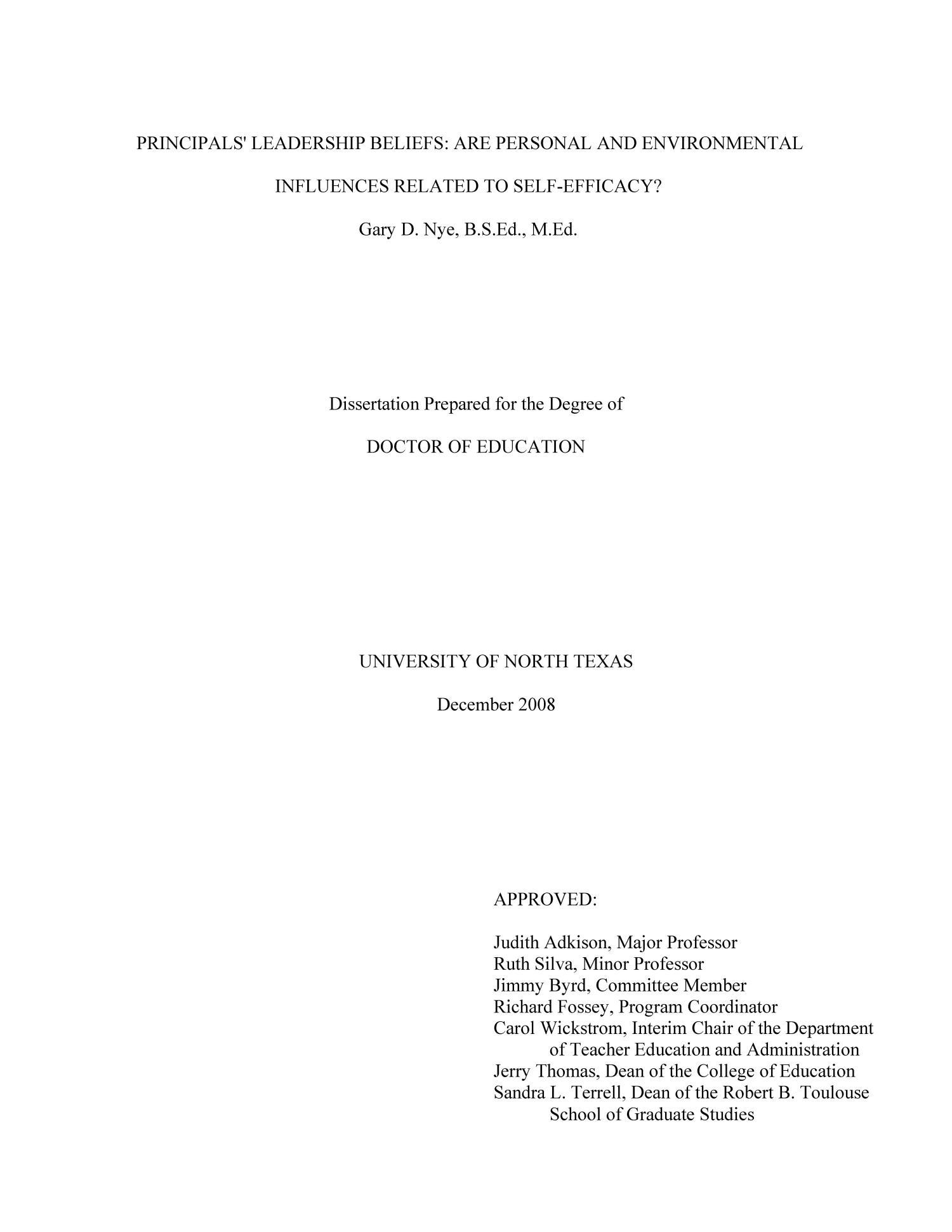 Dissertation self efficacy scale