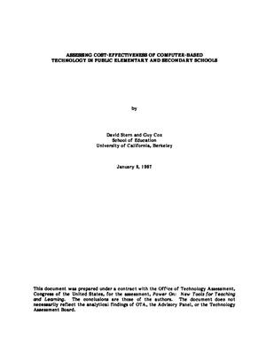 Primary view of object titled 'Assessing cost-effectiveness of computer-based technology in public elementary and secondary schools'.