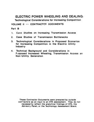 Primary view of object titled 'Electric power wheeling and dealing: technological considerations for increasing competition: volume II--contractor documents, part B.'.