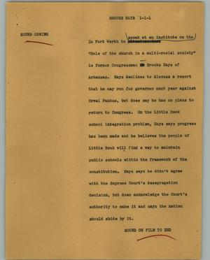 Primary view of object titled '[News Script: Brooks hays]'.