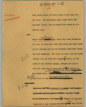 Primary view of object titled '[News Script: All America city]'.