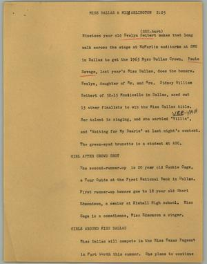 Primary view of object titled '[News Script: Miss Dallas & Miss Arlington]'.
