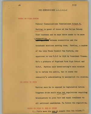 Primary view of object titled '[News Script: FCC commissioner]'.