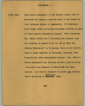 Primary view of object titled '[News Script: Homemakers]'.