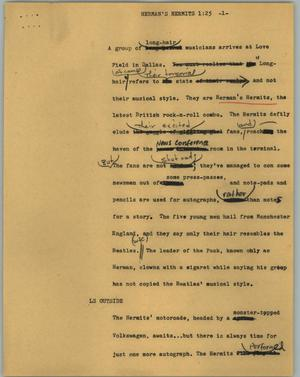 Primary view of object titled '[News Script: Herman's Hermits]'.