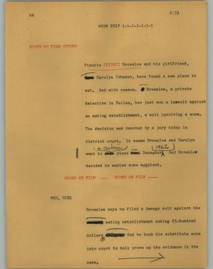 Primary view of object titled '[News Script: Worm suit]'.