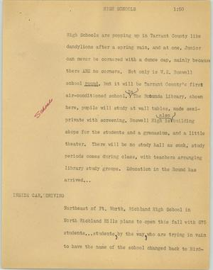 Primary view of object titled '[News Script: High schools]'.