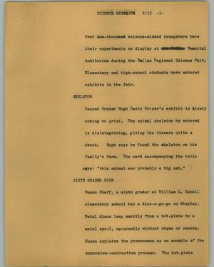 Primary view of object titled '[News Script: Science exhibition]'.