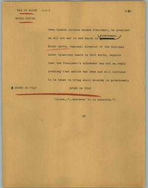 Primary view of object titled '[News Script: War on waste]'.