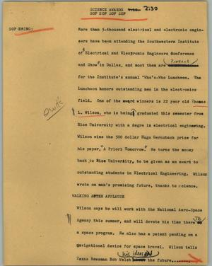 Primary view of object titled '[News Script: Science awards]'.