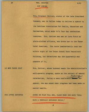 Primary view of object titled '[News Script: Mrs. Shriver]'.