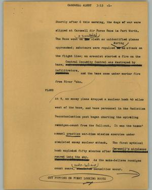 Primary view of object titled '[News Script: Carswell alert]'.