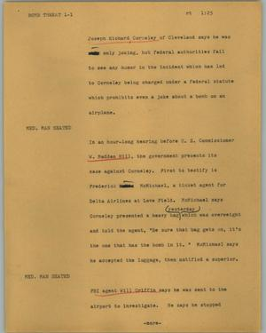 Primary view of object titled '[News Script: Bomb threat]'.