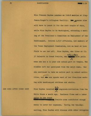 Primary view of object titled '[News Script: Handycapped]'.