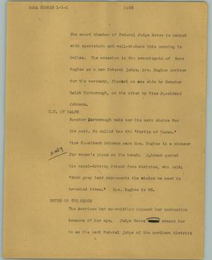Primary view of object titled '[News Script: Sarah Hughes]'.